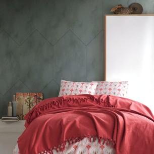 Летнее постельное белье с покрывалом-одеялом пике Saheser DALILA хлопковый ранфорс красный евро