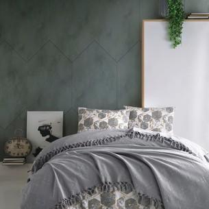 Летнее постельное белье с покрывалом-одеялом пике Saheser DALILA хлопковый ранфорс серый евро