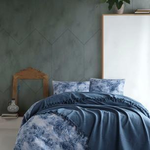 Летнее постельное белье с покрывалом-одеялом пике Saheser DALILA хлопковый ранфорс синий евро