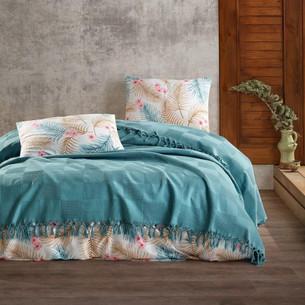 Летнее постельное белье с покрывалом-одеялом пике Saheser MARITA хлопковый ранфорс петрол евро