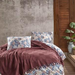 Летнее постельное белье с покрывалом-одеялом пике Saheser MARITA хлопковый ранфорс бордовый евро