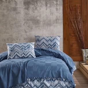 Летнее постельное белье с покрывалом-одеялом пике Saheser MARITA хлопковый ранфорс синий евро