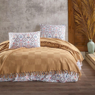 Летнее постельное белье с покрывалом-одеялом пике Saheser MARITA хлопковый ранфорс хардал евро