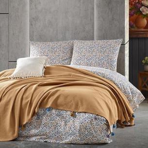 Летнее постельное белье с покрывалом-одеялом пике Saheser MISTY хлопковый ранфорс хардал евро