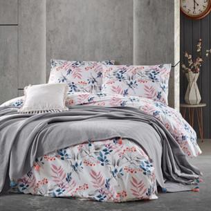 Летнее постельное белье с покрывалом-одеялом пике Saheser MISTY хлопковый ранфорс серый евро