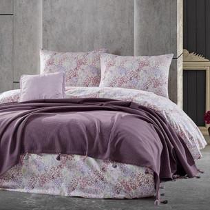 Летнее постельное белье с покрывалом-одеялом пике Saheser MISTY хлопковый ранфорс сиреневый евро