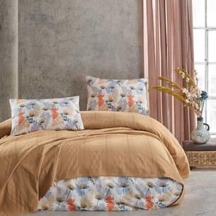 Летнее постельное белье с покрывалом-одеялом пике Saheser MONTES хлопковый ранфорс горчичный евро