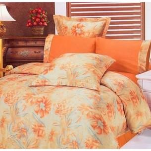 Постельное белье Le Vele SUMA сатин, жатый шёлк оранжевый евро