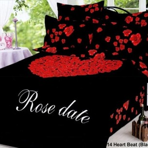 Постельное белье Le Vele HEART BEAT хлопковый сатин делюкс чёрный 1,5 спальный