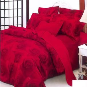 Постельное белье Le Vele KIBARIYE хлопковый сатин делюкс красный семейный