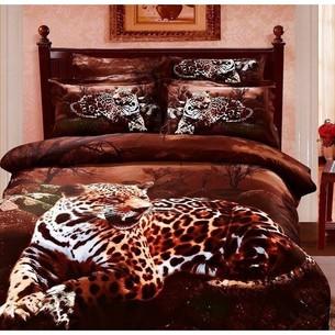 Постельное белье Le Vele TIGER хлопковый сатин делюкс коричневый евро