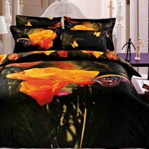 Постельное белье Le Vele MARIPOSA хлопковый сатин делюкс чёрный, оранжевый евро
