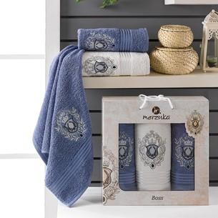 Подарочный набор полотенец для ванной 50х80(2), 70х130(1) Merzuka BOSS хлопковая махра темно-голубой