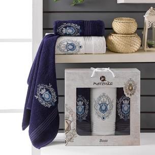 Подарочный набор полотенец для ванной 50х80(2), 70х130(1) Merzuka BOSS хлопковая махра синий
