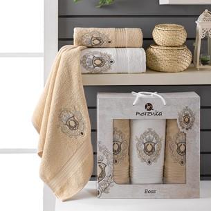 Подарочный набор полотенец для ванной 50х80(2), 70х130(1) Merzuka BOSS хлопковая махра бежевый