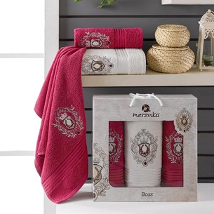 Подарочный набор полотенец для ванной 50х80(2), 70х130(1) Merzuka BOSS хлопковая махра бордовый