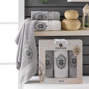 Подарочный набор полотенец для ванной 50х80(2), 70х130(1) Merzuka BOSS хлопковая махра серый