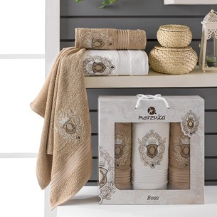 Подарочный набор полотенец для ванной 50х80(2), 70х130(1) Merzuka BOSS хлопковая махра коричневый