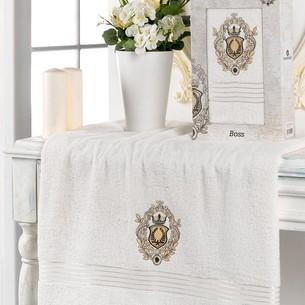 Полотенце для ванной в подарочной упаковке Merzuka BOSS хлопковая махра кремовый 70х130