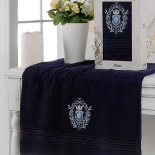 Полотенце для ванной в подарочной упаковке Merzuka BOSS хлопковая махра синий 70х130