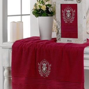 Полотенце для ванной в подарочной упаковке Merzuka BOSS хлопковая махра бордовый 70х130