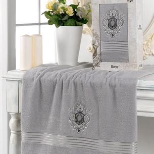 Полотенце для ванной в подарочной упаковке Merzuka BOSS хлопковая махра серый 70х130