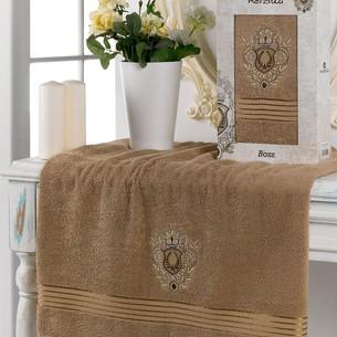 Полотенце для ванной в подарочной упаковке Merzuka BOSS хлопковая махра коричневый 50х80