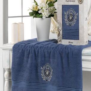 Полотенце для ванной в подарочной упаковке Merzuka BOSS хлопковая махра темно-голубой 70х130