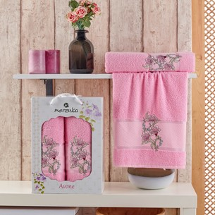 Подарочный набор полотенец для ванной 50х90, 70х140 Merzuka AVONE хлопковая махра розовый