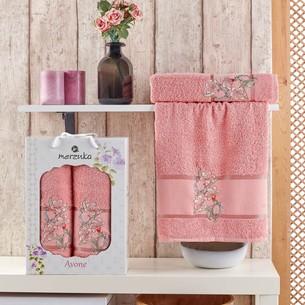 Подарочный набор полотенец для ванной 50х90, 70х140 Merzuka AVONE хлопковая махра персиковый