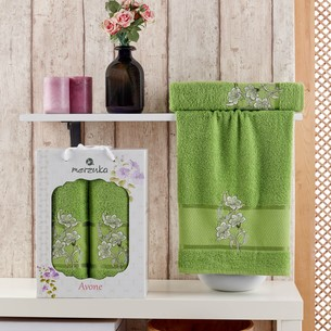 Подарочный набор полотенец для ванной 50х90, 70х140 Merzuka AVONE хлопковая махра зеленый
