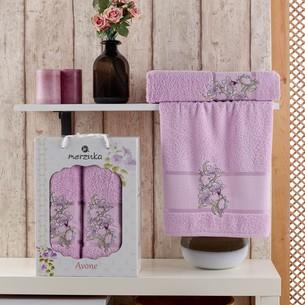 Подарочный набор полотенец для ванной 50х90, 70х140 Merzuka AVONE хлопковая махра сиреневый