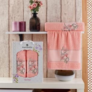 Подарочный набор полотенец для ванной 50х90, 70х140 Merzuka AVONE хлопковая махра оранжевый