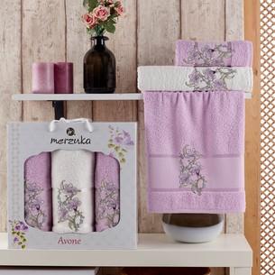 Подарочный набор полотенец для ванной 50х90(2), 70х140(1) Merzuka AVONE хлопковая махра сиреневый