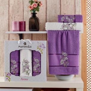 Подарочный набор полотенец для ванной 50х90(2), 70х140(1) Merzuka AVONE хлопковая махра фиолетовый