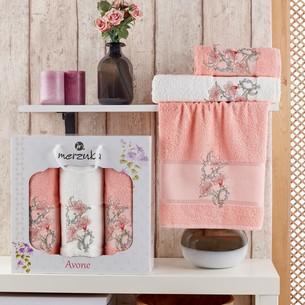 Подарочный набор полотенец для ванной 50х90(2), 70х140(1) Merzuka AVONE хлопковая махра оранжевый