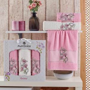 Подарочный набор полотенец для ванной 50х90(2), 70х140(1) Merzuka AVONE хлопковая махра розовый