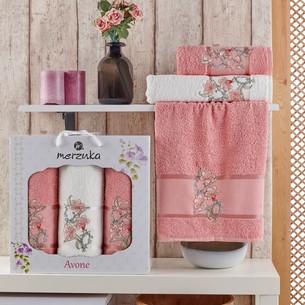 Подарочный набор полотенец для ванной 50х90(2), 70х140(1) Merzuka AVONE хлопковая махра персиковый