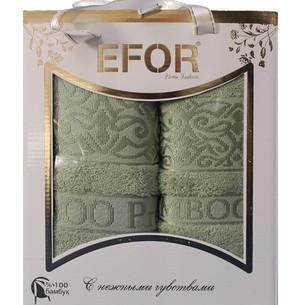 Подарочный набор полотенец для ванной 50х90, 70х140 Efor PREMIUM бамбуковая махра зеленый