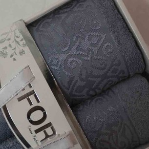 Подарочный набор полотенец для ванной 50х90, 70х140 Efor PREMIUM бамбуковая махра серый