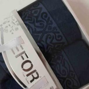 Подарочный набор полотенец для ванной 50х90, 70х140 Efor PREMIUM бамбуковая махра синий