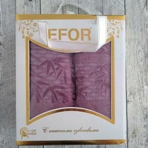 Подарочный набор полотенец для ванной 50х90, 70х140 Efor YAPRAK бамбуковая махра бордовый
