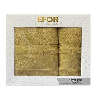 Подарочный набор полотенец для ванной 50х90, 70х140 Efor ESTELLA хлопковая махра горчичный