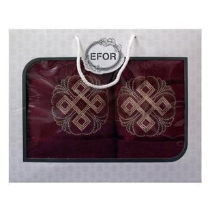 Подарочный набор полотенец для ванной 50х90, 70х140 Efor хлопковая махра герб v1 бордовый