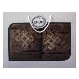 Подарочный набор полотенец для ванной 50х90, 70х140 Efor хлопковая махра герб v1 капучино