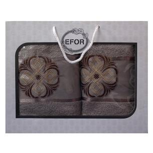 Подарочный набор полотенец для ванной 50х90, 70х140 Efor хлопковая махра герб v1 кофейный