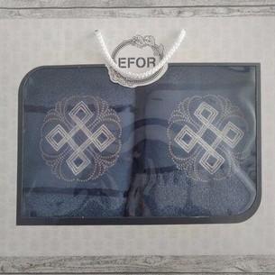 Подарочный набор полотенец для ванной 50х90, 70х140 Efor хлопковая махра герб v1 синий