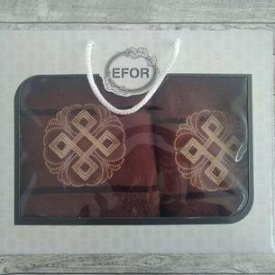 Подарочный набор полотенец для ванной 50х90, 70х140 Efor хлопковая махра герб v1 темно-кофейный