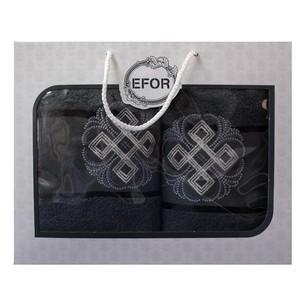 Подарочный набор полотенец для ванной 50х90, 70х140 Efor хлопковая махра герб v1 темно-серый