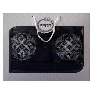 Подарочный набор полотенец для ванной 50х90, 70х140 Efor хлопковая махра герб v1 темно-синий